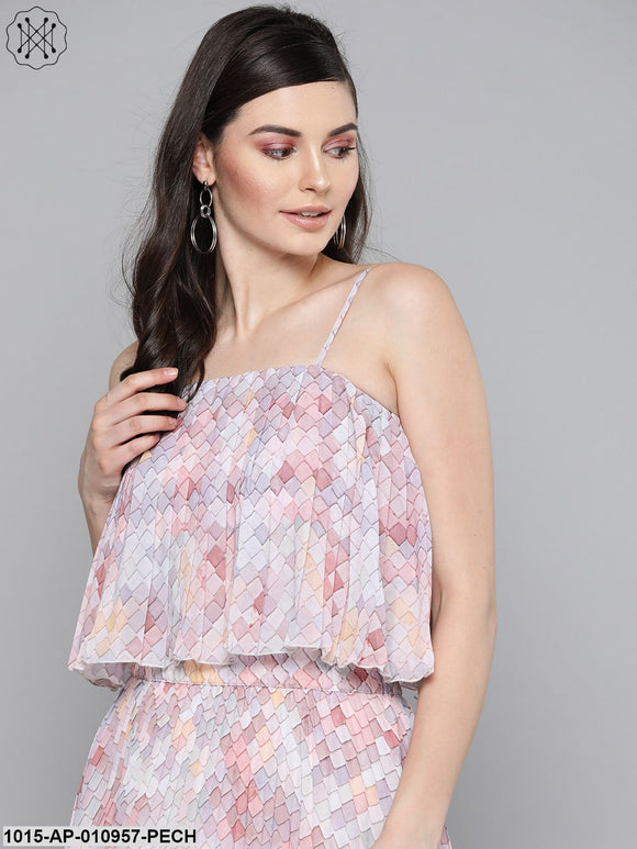 Peach Tile Print Strappy Pleated Crop Top