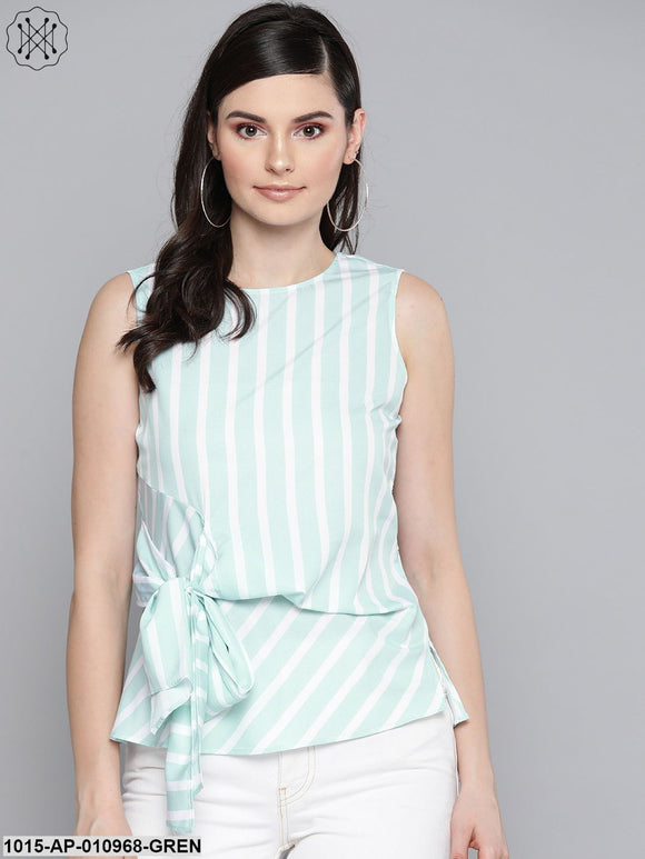 Sea Green Stripe Side Knot Detail Top