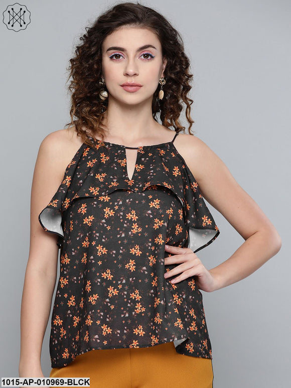 Black Ditsy Floral Halter Neck Top