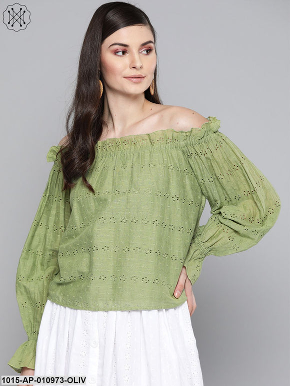 Olive Schiffli Off Shoulder Top