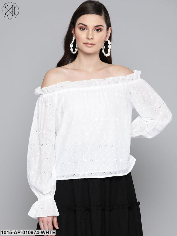 White Schiffli Off Shoulder Top