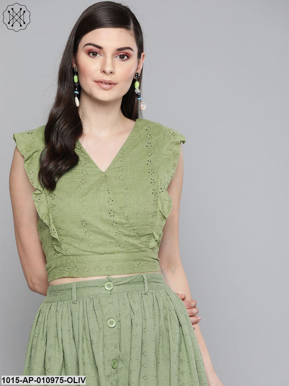 Olive Schiffli Wrap Crop Top