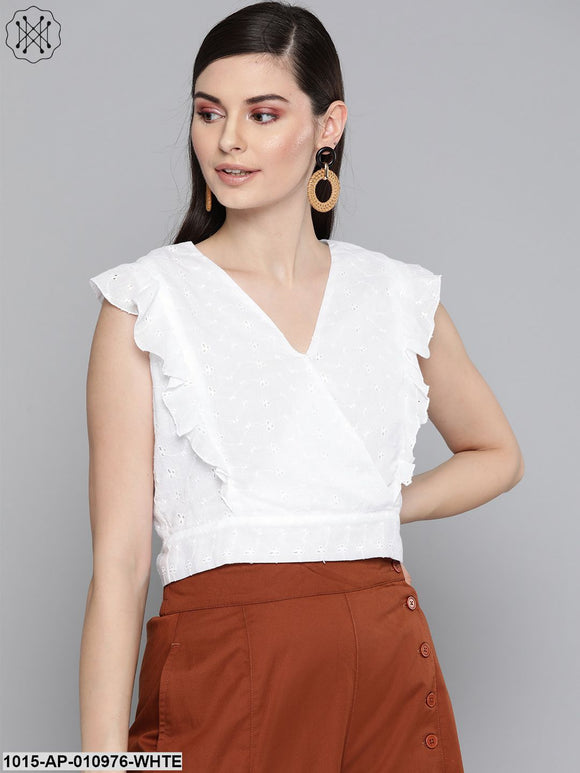 White Schiffli Wrap Crop Top