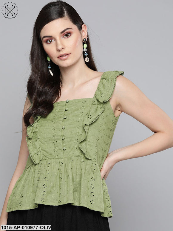 Olive Schiffli Button Peplum Top