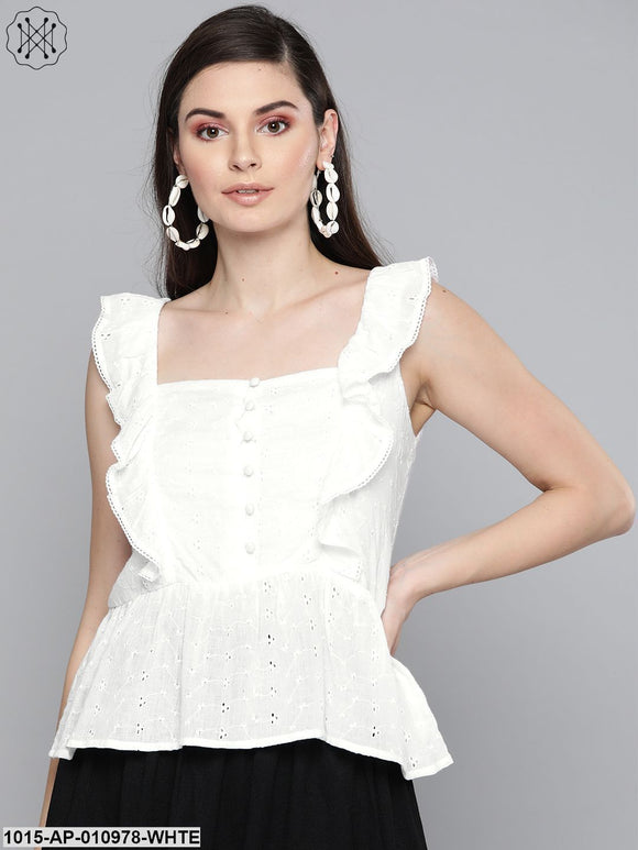 White Schiffli Button Peplum Top