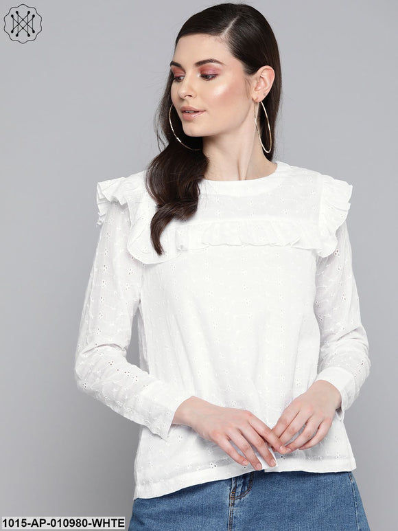 White Schiffli Front Yoke Top