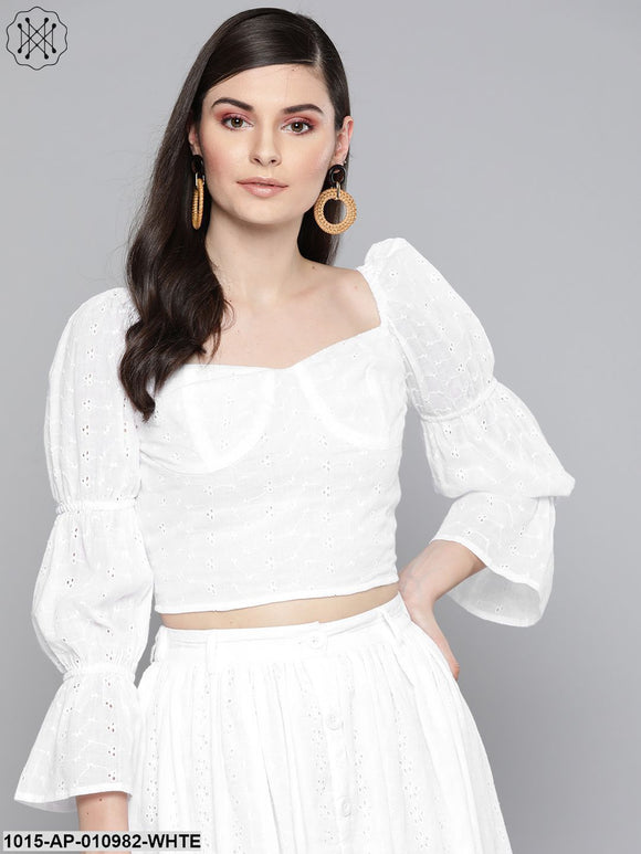 White Schiffli Bishop Sleeve Crop Top