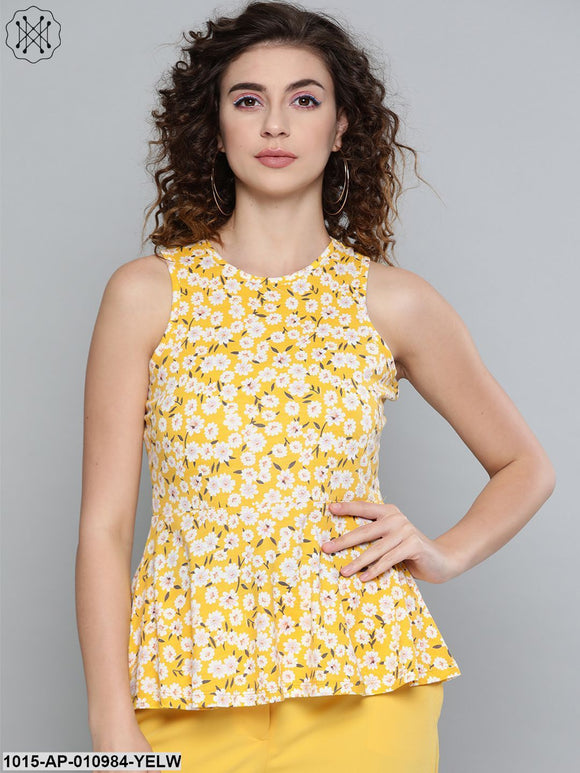 Yellow Ditsy Floral Box Back Peplum Top