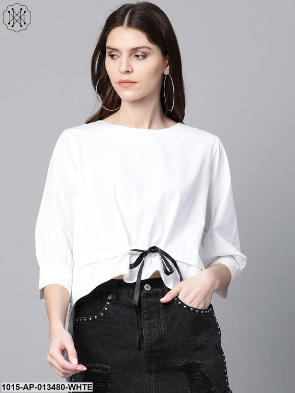 White High Low Tape Detail Boxy Top