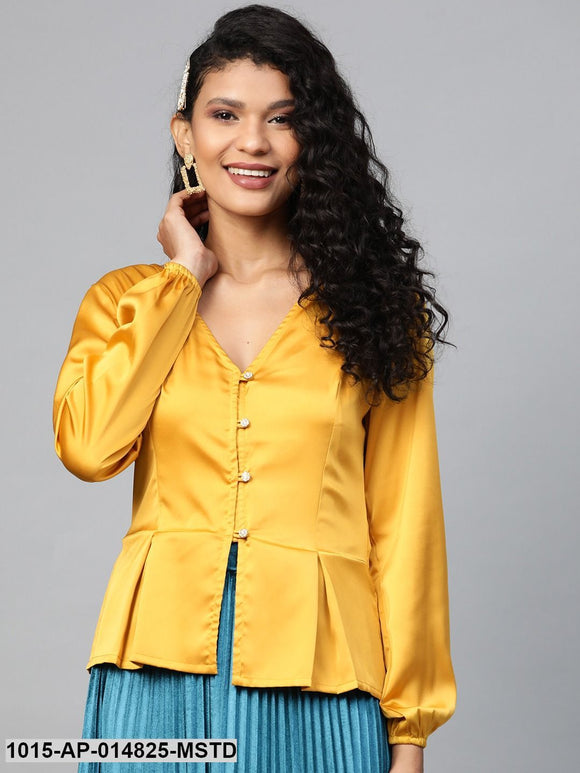 Mustard Front Button Peplum Satin Top