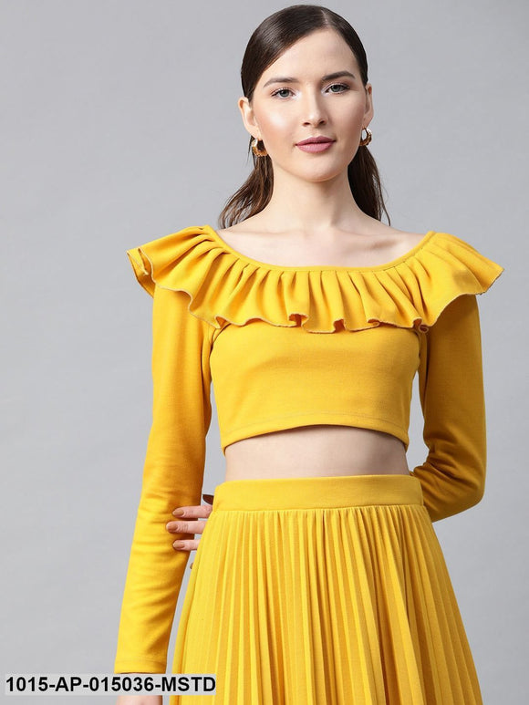 Mustard Frilly Neck Rib Crop Top