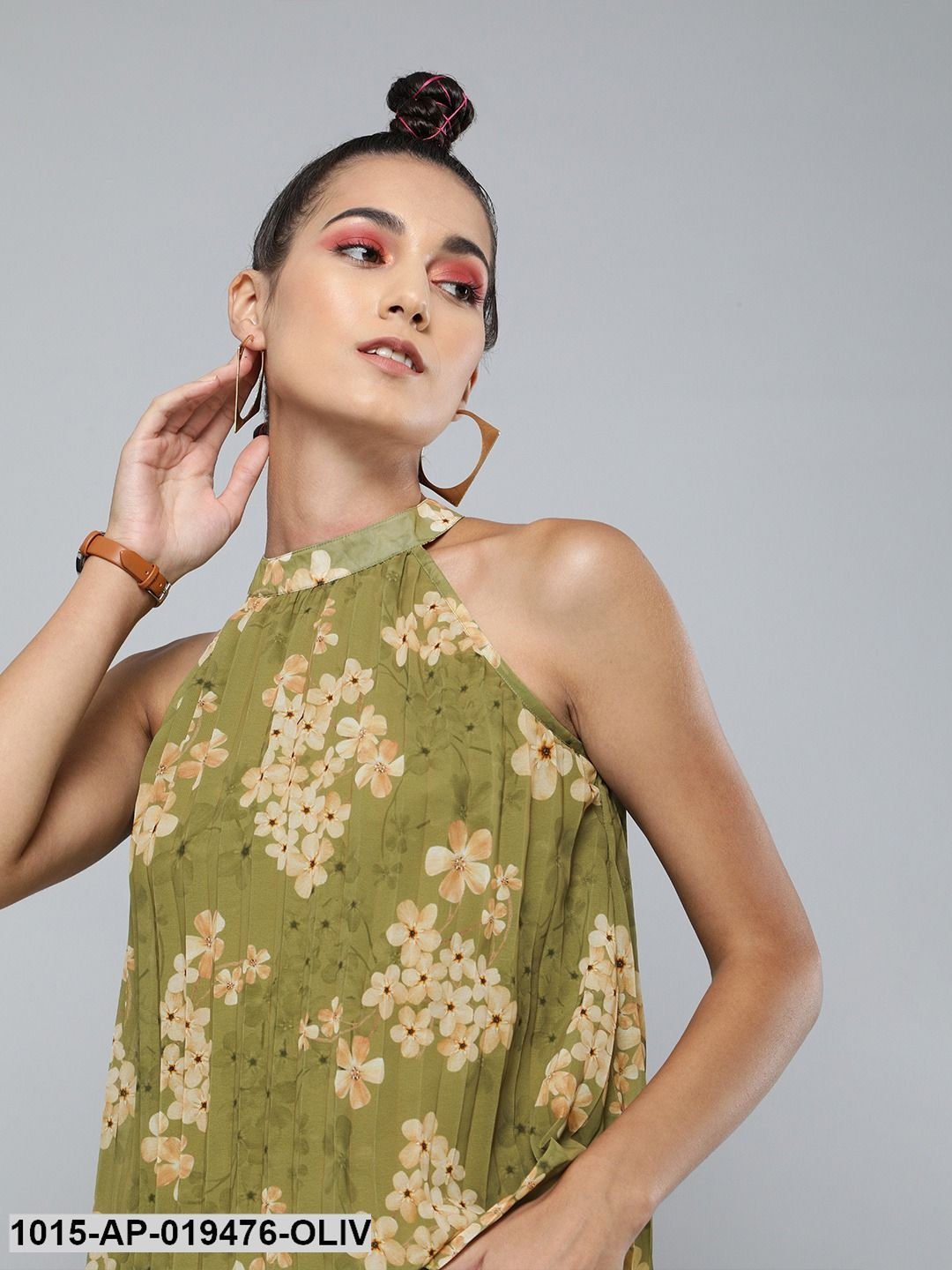 Olive Floral Pleated Halter Top