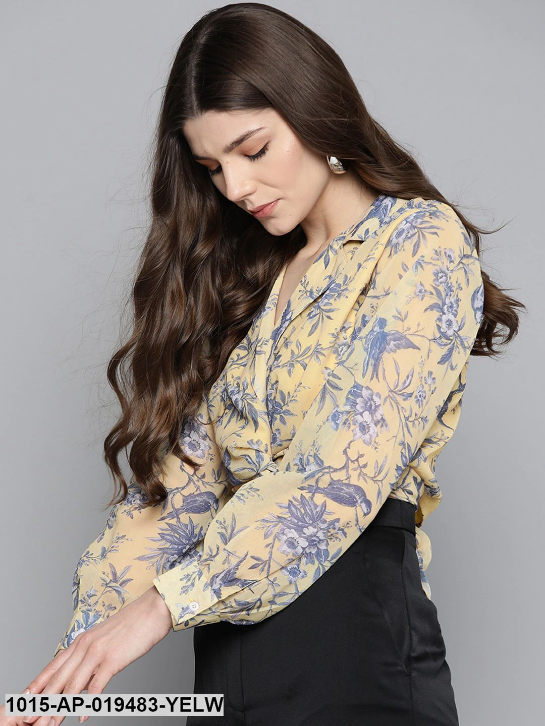 Yellow Floral Tie Knot Crop Shirt Top