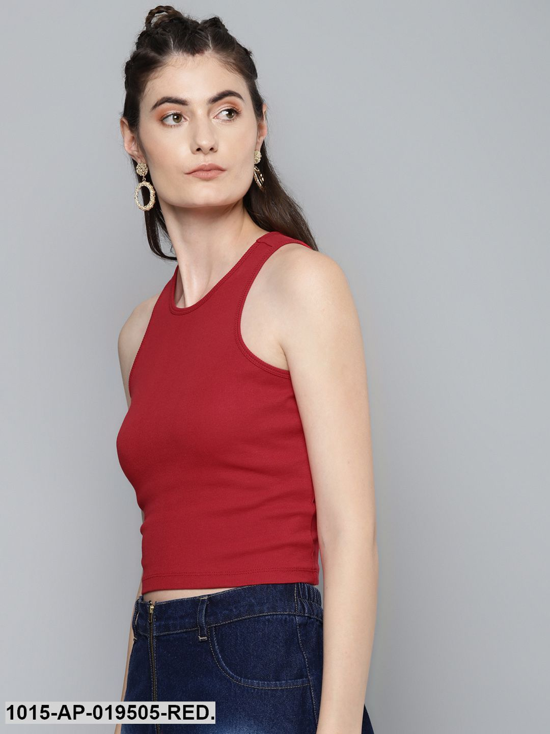Red Box Back Crop Top