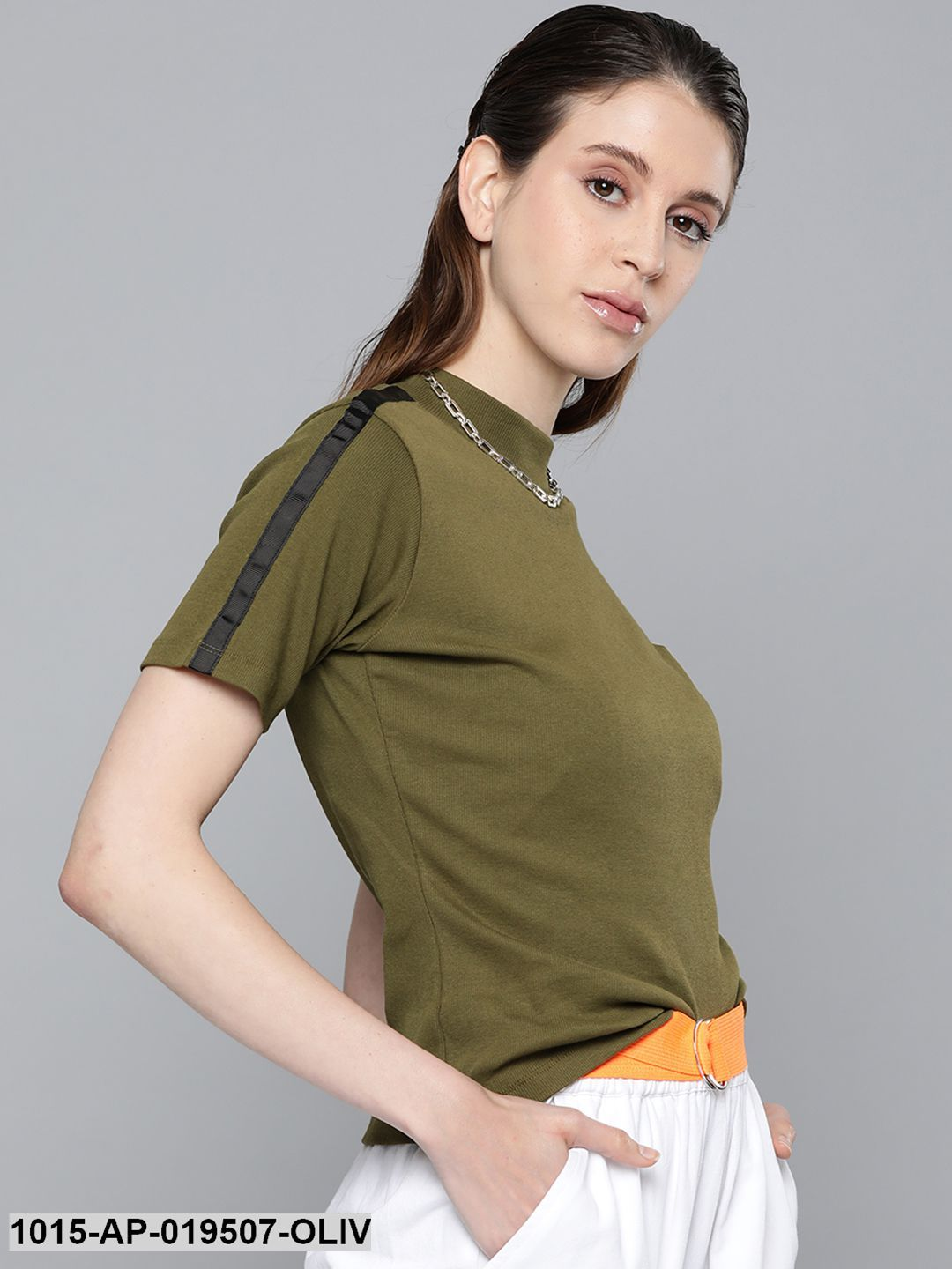 Olive Tape Detail At Sleeve Top