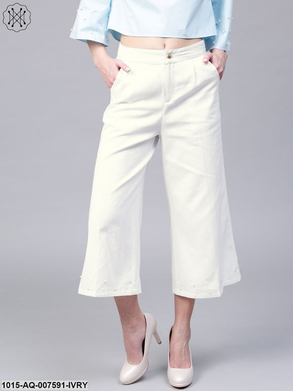 Ivory Wide Leg Pearl Culottes
