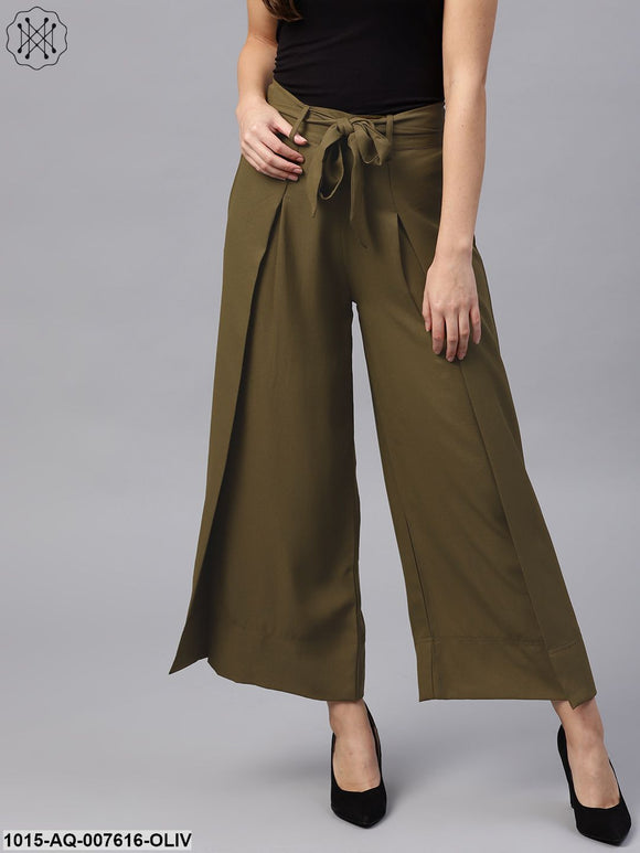 Olive Wrap Belted Pants