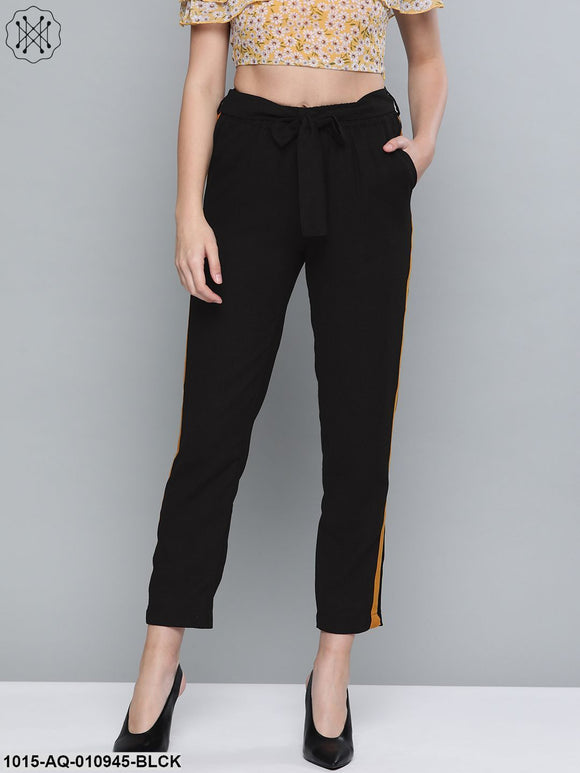 Black Side Tape Detail Tapered Pants
