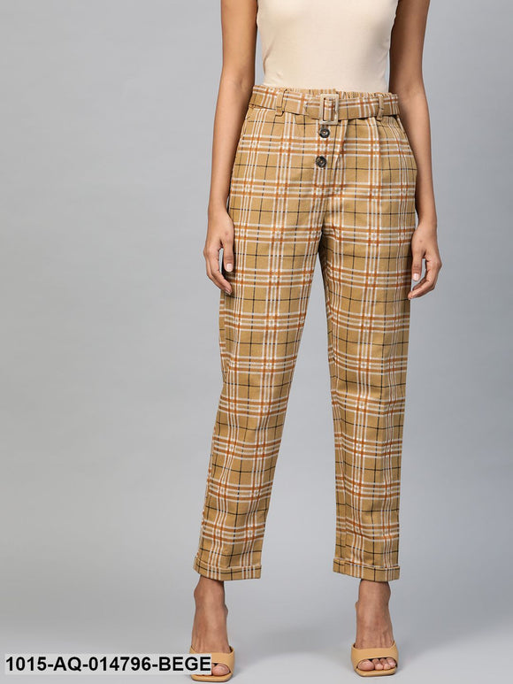 Beige Check Tapered Twill Pants