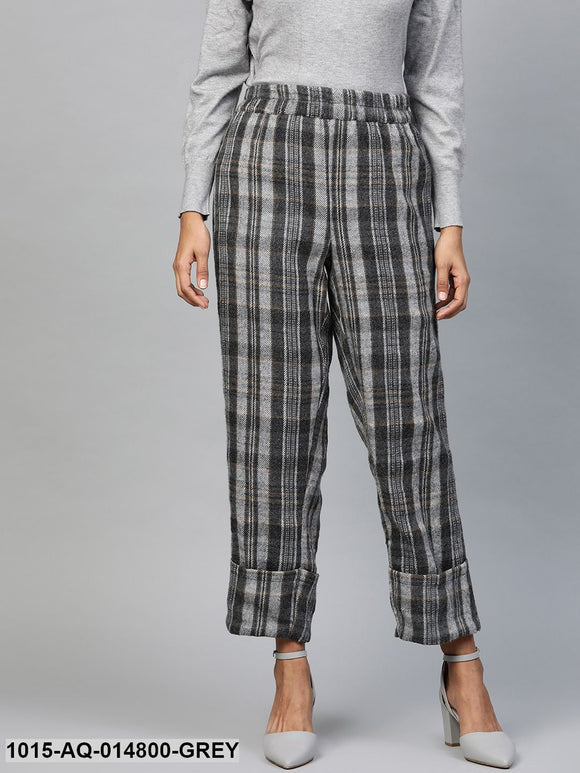 Grey Check Roll Up Trousers