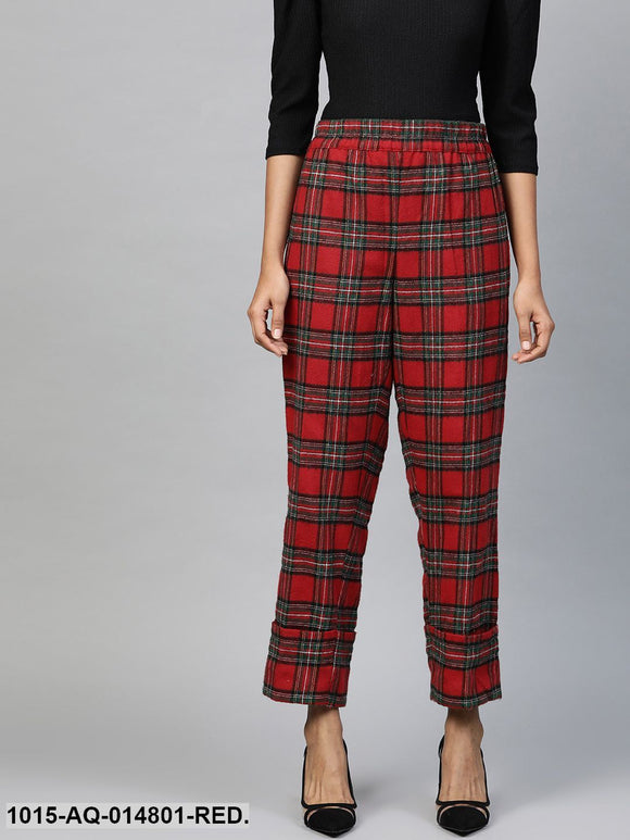Red Check Roll Up Trousers