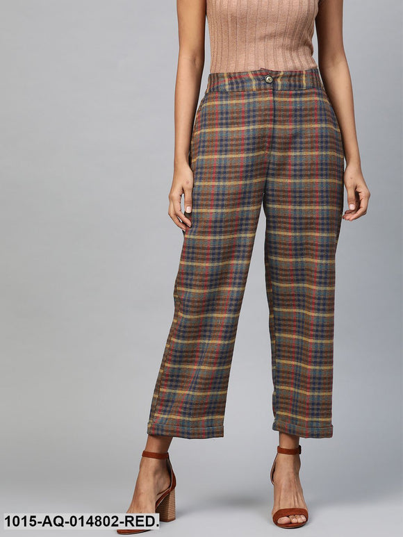 Multicolour Jacquard Check Tapered Pants