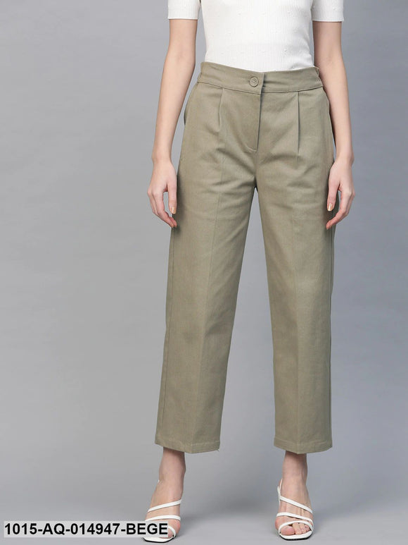 Beige Twill Tapered Pants