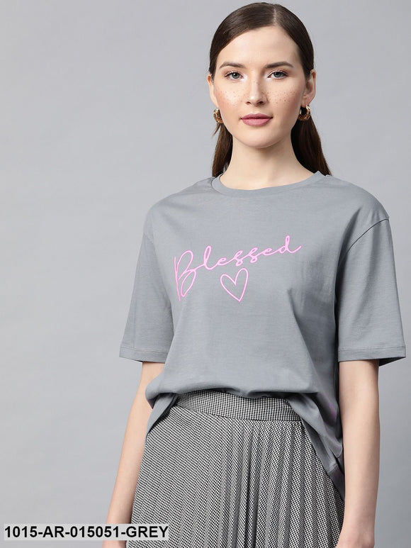 Grey Blessed-Print T-shirt