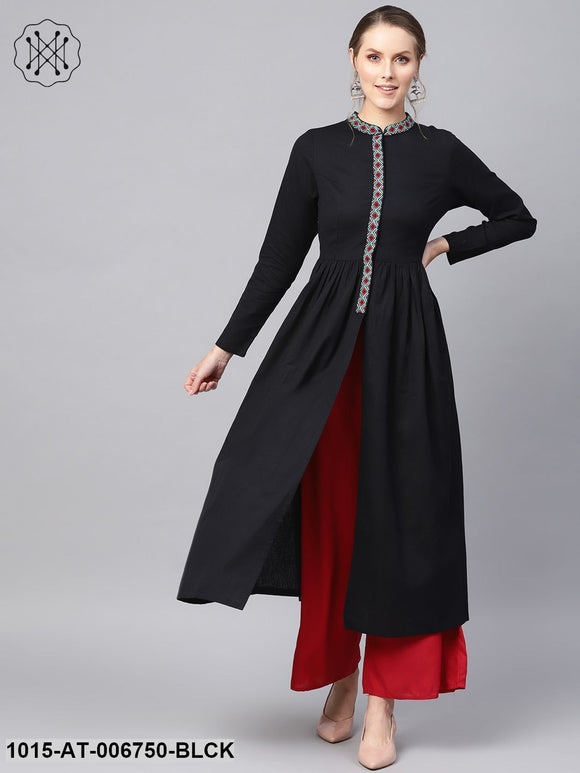 Black Embroidered Front Open Kurta