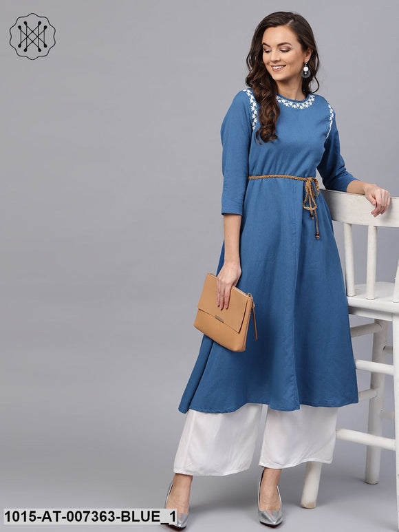 Blue Embroidered Belted Kurta