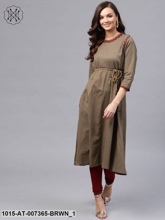 Brown Embroidered Belted Kurta