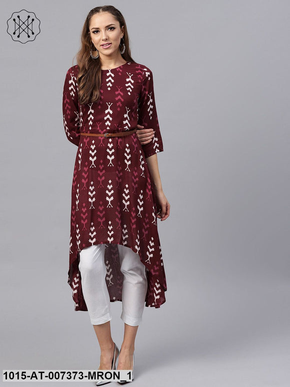 Maroon Ikat High Low Kurta