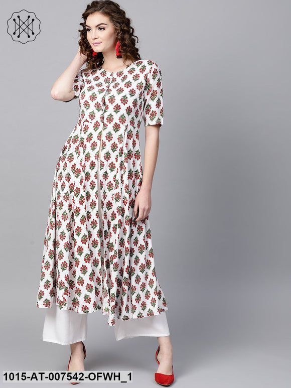 Off-White Floral Front Open Anarkali