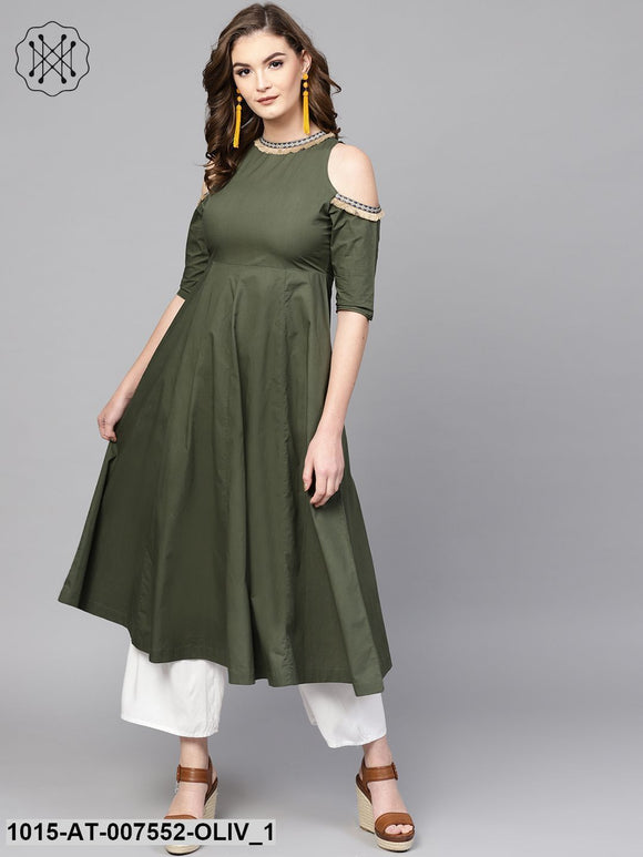 Olive Cold Shoulder Kurta With Fringe Lace