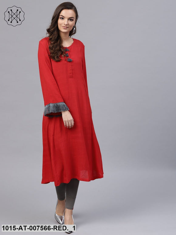 Red Fringed Sleeves Kurta