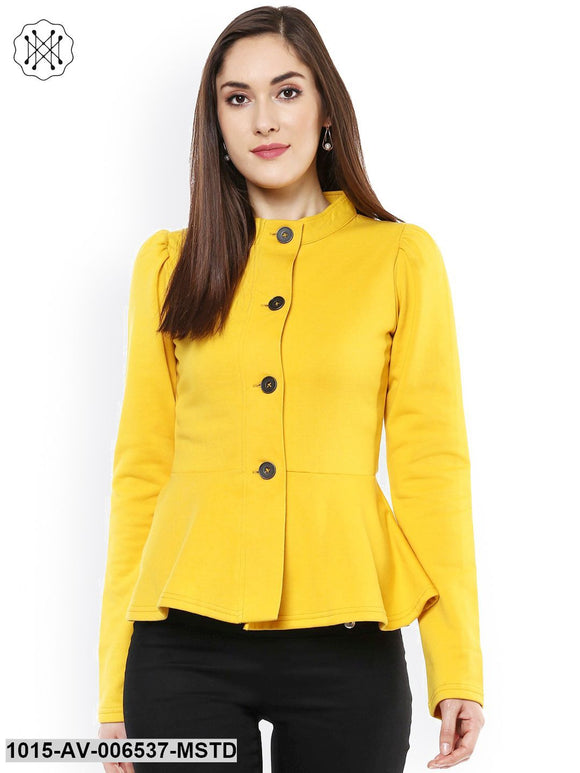 Mustard Fleece Peplum Jacket