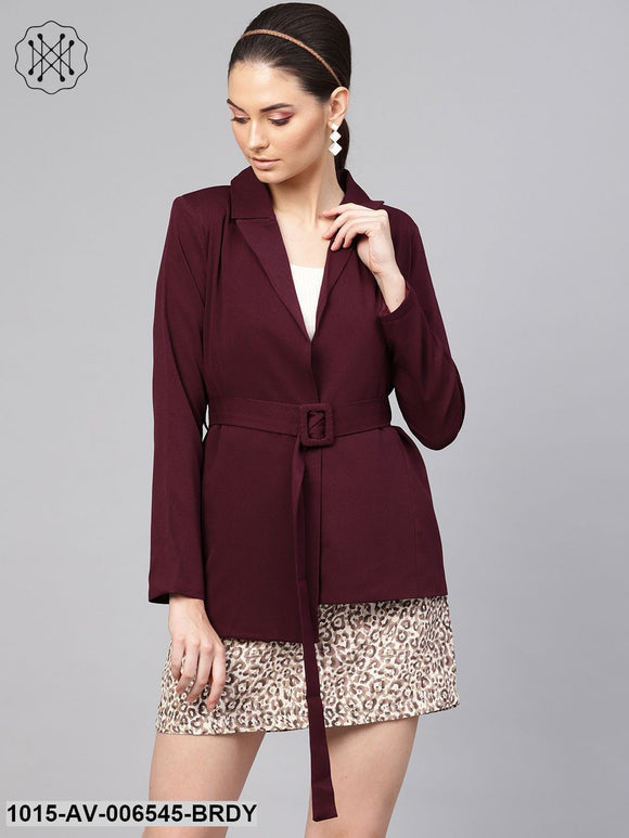 Burgundy Belted Jacket