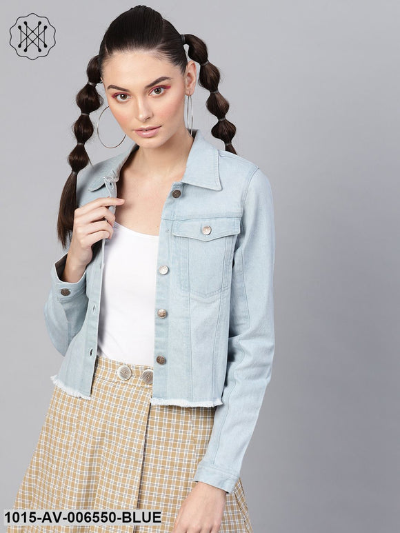 Light Blue Denim Raw Edge Crop Jacket