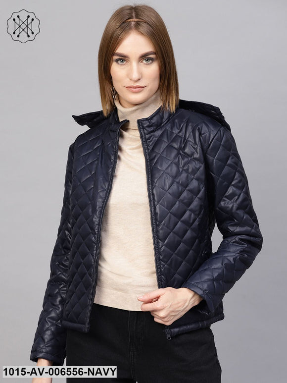 Navy Quilted Hooded Puffer Jacket