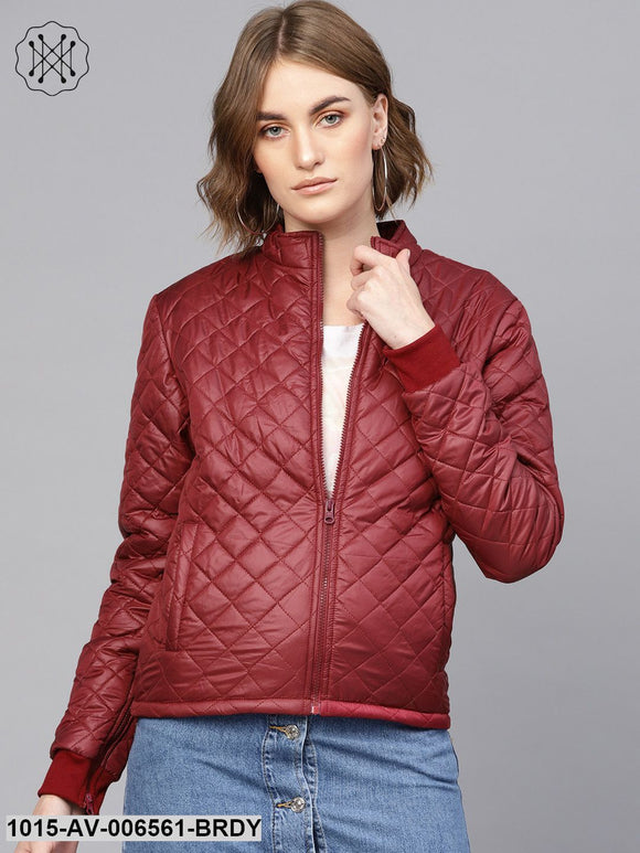 Burgundy Quilted Jacket With Zip On Sleeves