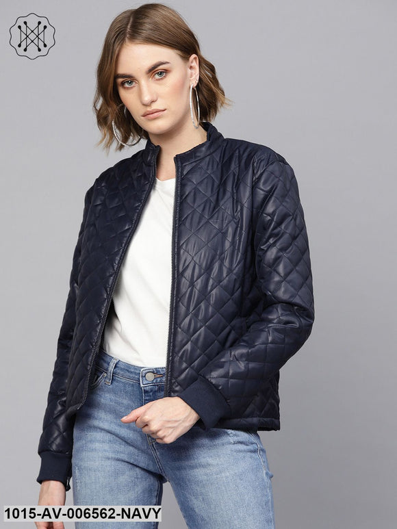 Navy Quilted Jacket With Zip Sleeves