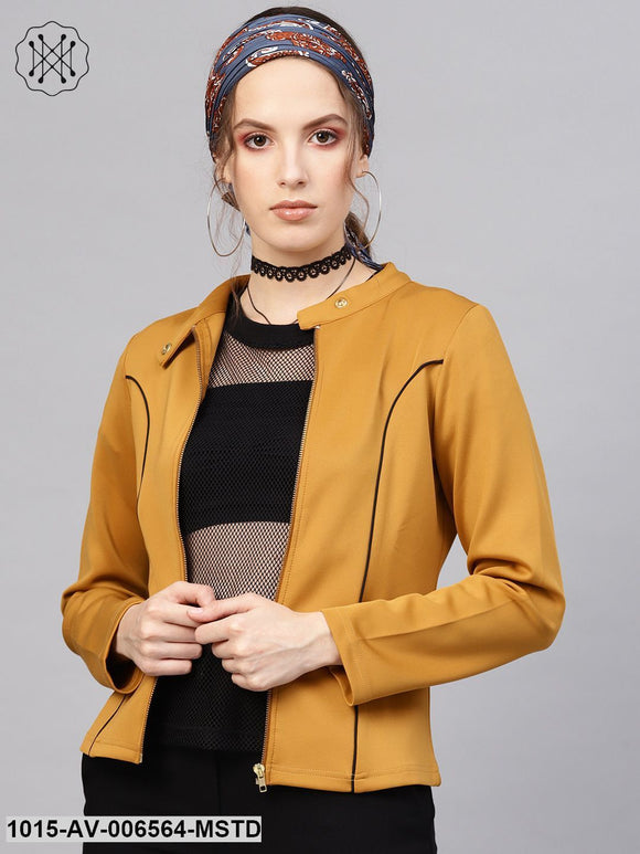Mustard Scuba Contrast Piping Jacket