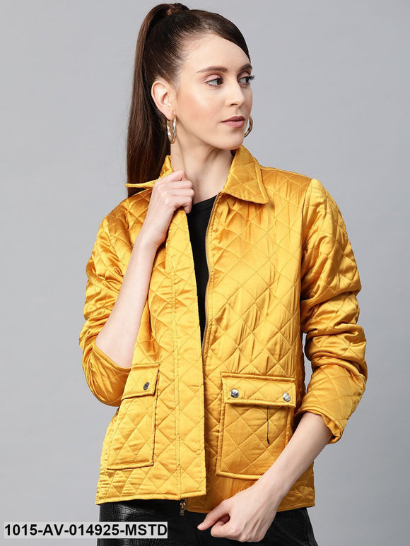 Mustard Satin Quilted Jacket