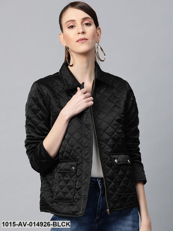 Black Satin Quilted Jacket