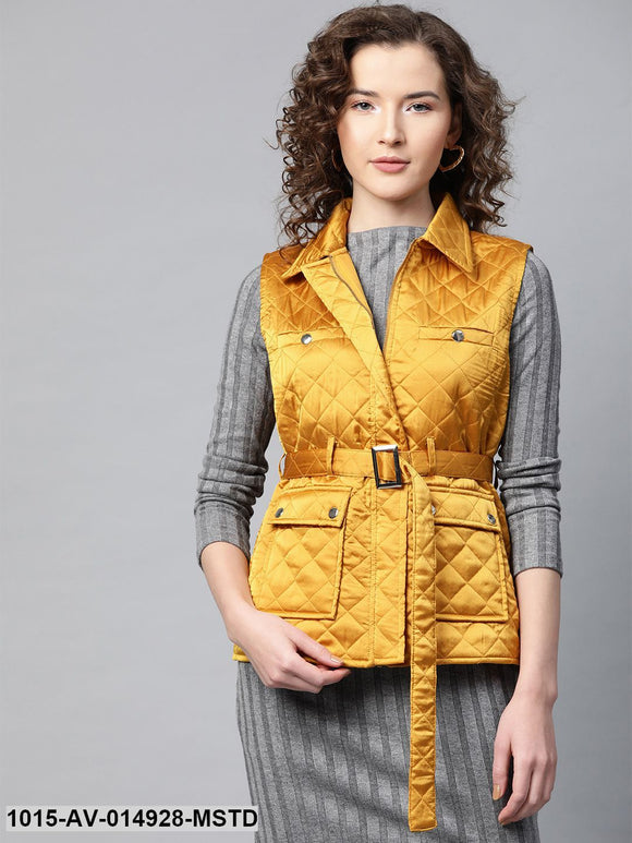 Mustard Sleeveless Belted Satin Quilted Jacket