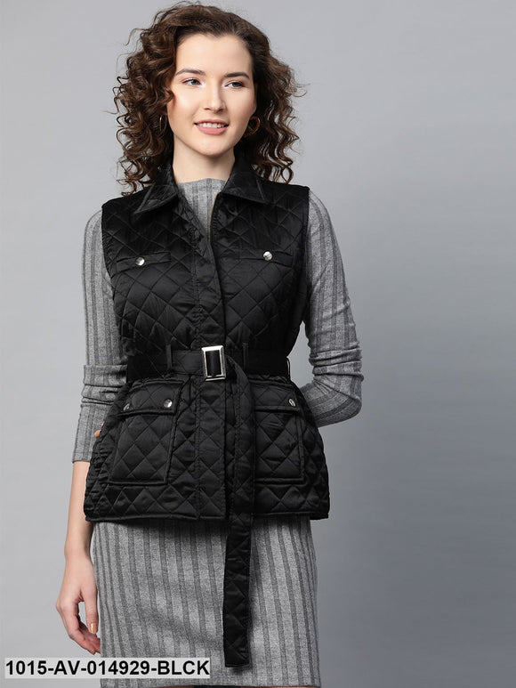 Black Sleeveless Belted Satin Quilted Jacket