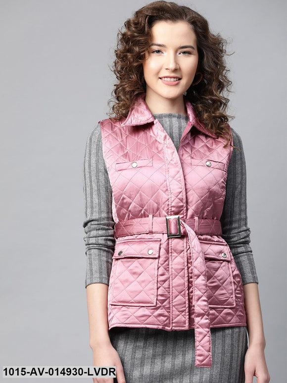 Lavender Sleeveless Belted Satin Quilted Jacket