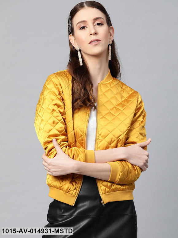 Mustard Satin Quilted Bomber Jacket