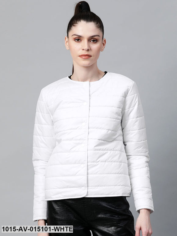 White Snap Button Quilted Jacket