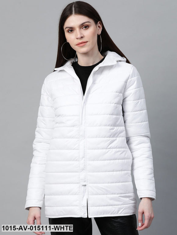 White Hooded Long Puffer Jacket